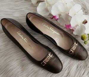 Salvatore Ferragamo Boutique Bronze Heels